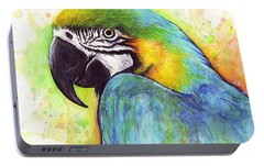 Macaw Watercolor Portable Battery Charger by Olga Shvartsur
