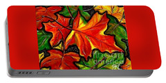 Portable Battery Charger featuring the painting Colorful Carpet by Jackie Carpenter