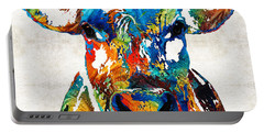 Colorful Cow Art - Mootown - By Sharon Cummings Portable Battery Charger