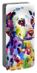 Colorful Dalmatian Puppy Dog Portrait Art Portable Battery Charger