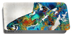 Colorful Dog Art - Loving Eyes - By Sharon Cummings  Portable Battery Charger
