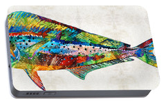 Colorful Dolphin Fish By Sharon Cummings Portable Battery Charger by Sharon Cummings