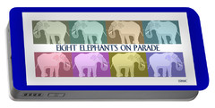 Portable Battery Charger featuring the painting Colorful Elephants by Marian Cates