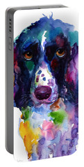 Colorful English Springer Setter Spaniel Dog Portrait Art Portable Battery Charger by Svetlana Novikova