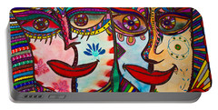 Colorful Faces Gazing - Ink Abstract Faces Portable Battery Charger