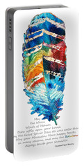 Colorful Feather Art - Cherokee Blessing - By Sharon Cummings Portable Battery Charger