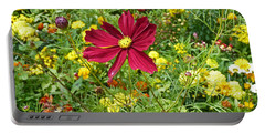Colorful Flower Meadow With Great Red Blossom Portable Battery Charger