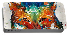 Colorful Fox Art - Foxi - By Sharon Cummings Portable Battery Charger