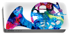 Colorful French Horn 2 - Cool Colors Abstract Art Sharon Cummings Portable Battery Charger by Sharon Cummings
