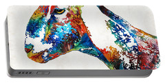 Colorful Goat Art By Sharon Cummings Portable Battery Charger