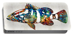Colorful Grouper 2 Art Fish By Sharon Cummings Portable Battery Charger
