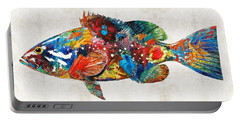 Colorful Grouper Art Fish By Sharon Cummings Portable Battery Charger