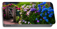 Colorful Hydrangea At The Gate. Giethoorn. Netherlands Portable Battery Charger