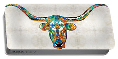 Colorful Longhorn Art By Sharon Cummings Portable Battery Charger