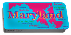 Colorful Maryland State Pride Map Silhouette  Portable Battery Charger