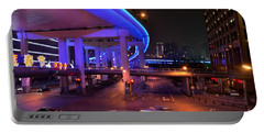 Colorful Night Traffic Scene In Shanghai China Portable Battery Charger