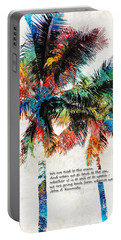 Colorful Palm Trees - Returning Home - By Sharon Cummings Portable Battery Charger