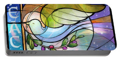 Portable Battery Charger featuring the digital art Colorful Peace Dove by Randy Wollenmann