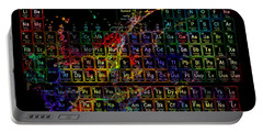 Colorful Periodic Table Of The Elements On Black With Water Splash Portable Battery Charger by Eti Reid