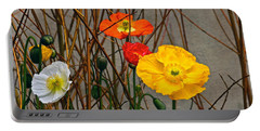 Colorful Poppies And White Willow Stems Portable Battery Charger