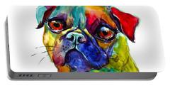 Colorful Pug Dog Painting  Portable Battery Charger