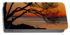 Colorful Quiet Sunrise On Lake Ontario In Toronto Portable Battery Charger by Georgia Mizuleva