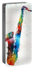 Colorful Saxophone 3 By Sharon Cummings Portable Battery Charger