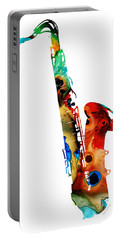 Colorful Saxophone By Sharon Cummings Portable Battery Charger by Sharon Cummings