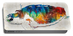 Colorful Sea Turtle By Sharon Cummings Portable Battery Charger by Sharon Cummings
