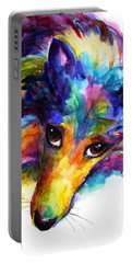 Colorful Sheltie Dog Portrait Portable Battery Charger