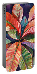 Portable Battery Charger featuring the painting Colorful Tropical Leaves 1 by Marionette Taboniar