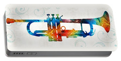 Colorful Trumpet Art Color Fusion By Sharon Cummings Portable Battery Charger