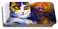 Colorful Watercolor Cat On A Tree Painting Portable Battery Charger