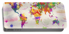 Colorful Watercolor World Map Portable Battery Charger