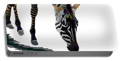 Portable Battery Charger featuring the digital art Colorful Zebra 2 by Teresa Zieba