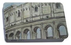 Portable Battery Charger featuring the painting Colosseum Rome Italy by Malinda  Prudhomme