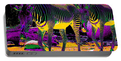Colourful Zebras  Portable Battery Charger by Aidan Moran