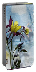 Columbine Blossom With Suminagashi Ink Portable Battery Charger