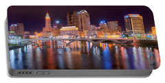 Columbus Skyline At Night Color Panorama Ohio Portable Battery Charger