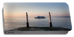 Columns Pier And Tagus River At Sunrise In Lisbon Portable Battery Charger