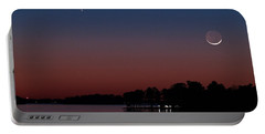 Comet Panstarrs And Crescent Moon Portable Battery Charger