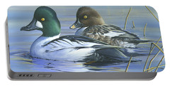 Portable Battery Charger featuring the painting Common Goldeneye by Mike Brown