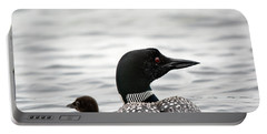 Common Loon And Baby Portable Battery Charger by Cheryl Baxter