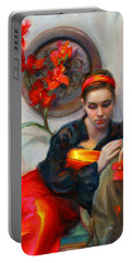 Common Threads - Divine Feminine In Silk Red Dress Portable Battery Charger by Talya Johnson
