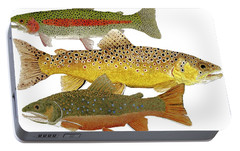 Portable Battery Charger featuring the painting Common Trout  Rainbow Brown And Brook by Thom Glace