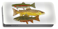 Common Trout  Rainbow Brown And Brook Portable Battery Charger by Thom Glace
