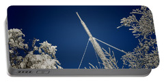 Communication Pole Covered With Snow In A Sunny Winter Day Portable Battery Charger