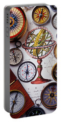 Compasses And Globe Illustration Portable Battery Charger