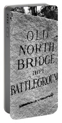 Concord Ma Old North Bridge Marker Black And White Portable Battery Charger