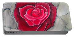 Portable Battery Charger featuring the painting Concrete Rose by Marisela Mungia